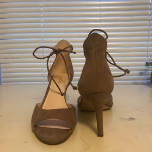 Tan felt heels